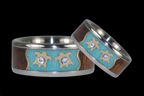 Anting Ring Titanium Gold 3 turtle and titanium ring hawaii titanium rings