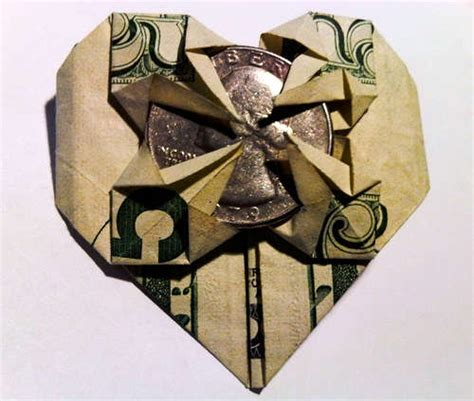 Money Origami With Quarter - folded bill ideas food gifts