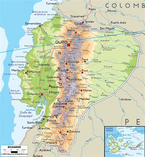 map of equador physical map of ecuador ezilon maps