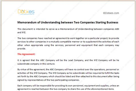 mou template india memorandum of understanding template starting business