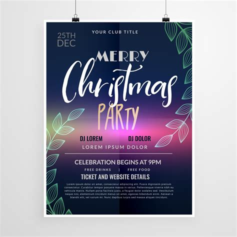 beautiful christmas party flyer design template   vector art stock graphics images
