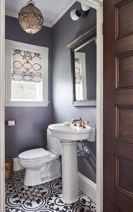 purple powder room  parisian pedestal sink