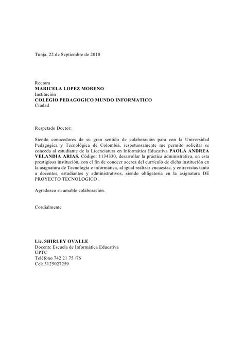 Modelo Carta Presentacion Curriculum Colegio Carta Presentaci 243 N Colegio 1