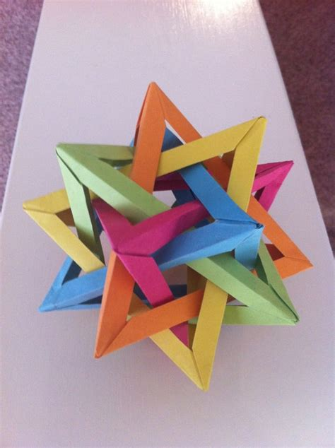 Origami Five Intersecting Tetrahedra - origami five intersecting tetrahedra by foldsbyalex on