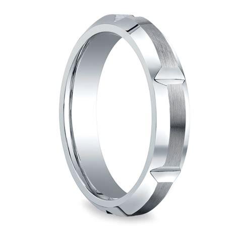 vertical grooved s wedding ring in cobalt 5mm