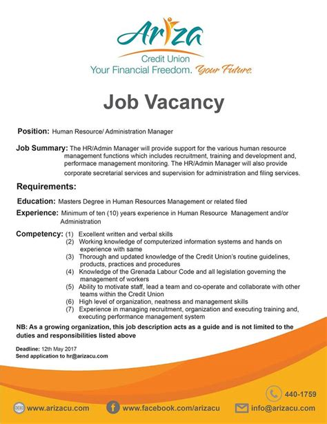 What Is Job Title In Resume by Job Vacancy Hr Administration Manager Ariza Credit Union