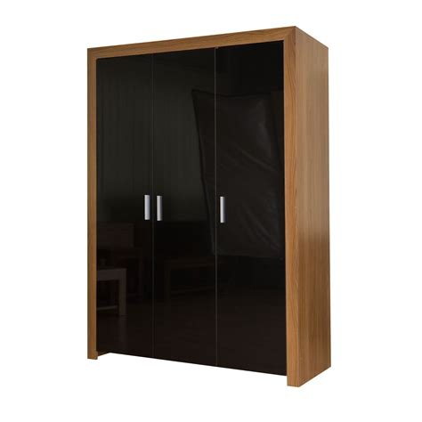 Black 3 Door Wardrobe by Walnut And Black Gloss 3 Door Wardrobe