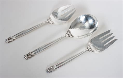 three georg jensen sterling silver serving pieces