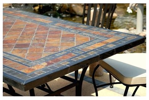 Tile Patio Table Garden Patio Mosaic Slate Table 78 Quot Maple Craftsman Patio Los Angeles By Living