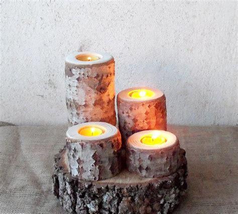 4 Candle Holder 4 Wood Candle Holders Wood Log Holders White Tree
