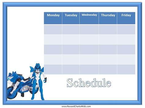 printable reward chart transformers weekly schedule template