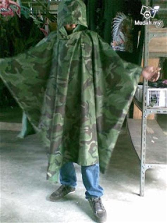 Baju Hujan Untuk Rider gaya ala tentera poncho baju hujan celoreng
