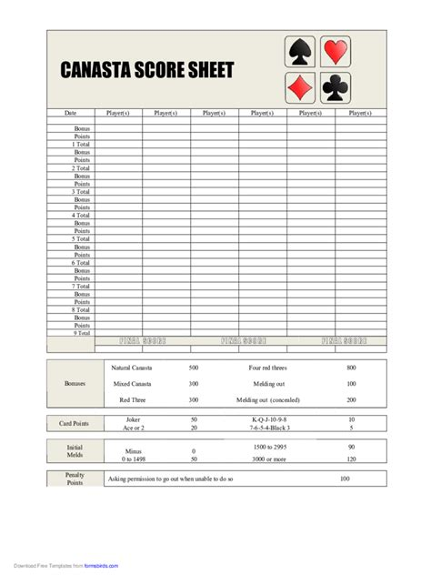 Canasta Score Card Template by Canasta Score Sheet 5 Free Templates In Pdf Word Excel