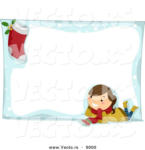 design photo cartoon cartoon vector of a happy girl and stocking composited on