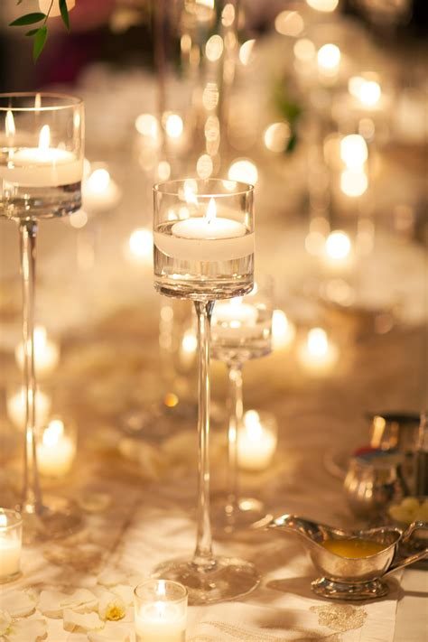 tall glass candle holder reception decor elizabeth anne