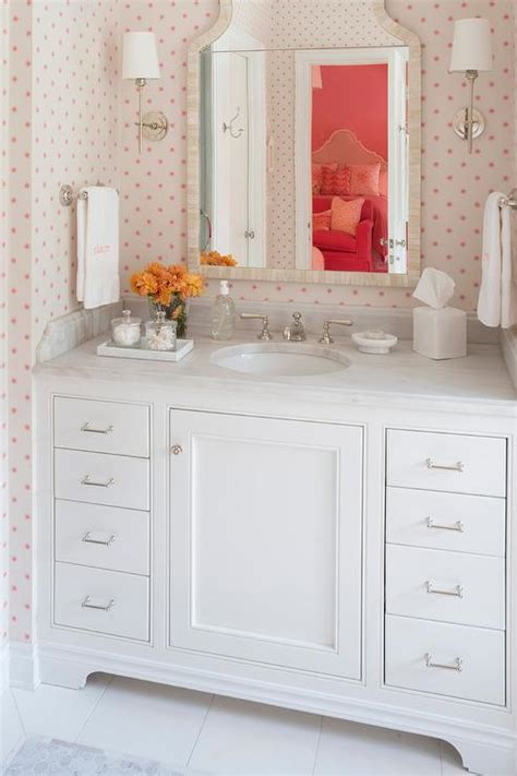 pink and cream bathroom gray green makeup vanity with black and white bone inlay