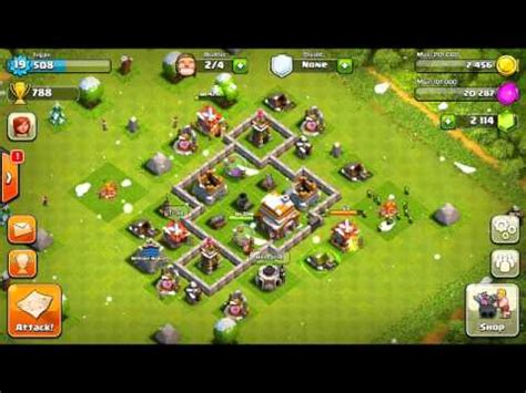 clash of clans layout strategy level 4 clash of clans defense strategy town hall level 4 youtube
