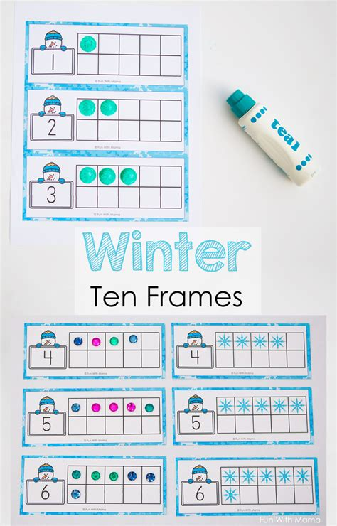 card templates to cound snowman winter ten frame printable with