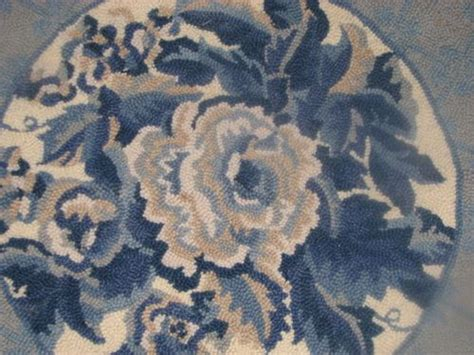 fabulous country style wool hooked area rug blue