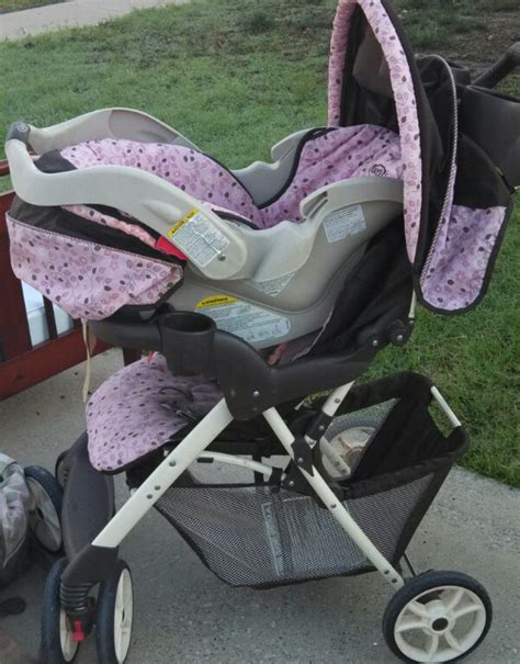 purple polka dot car seat and stroller stroller and car seat combo in outback s garage sale wylie tx
