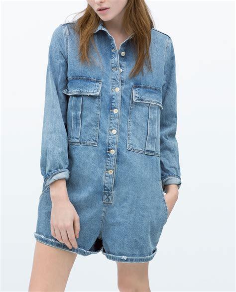Zara Denim Original bnwt genuine zara new 2015 sold out blue denim jumpsuit size s small