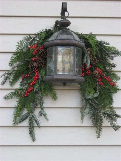 evergreen home decor evergreen swag with berries and lantern a interior design