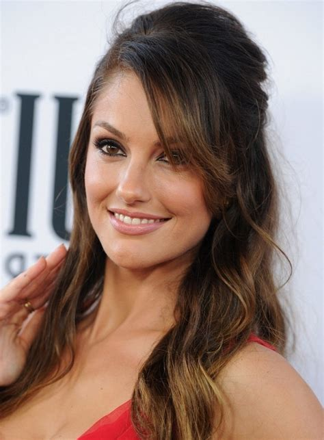hairstyles with half bangs minka kelly half up half down hairstyle with bangs