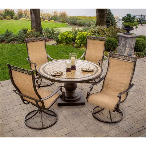 Swivel Patio Chairs By Foremost by Monaco 5 Swivel Rocker Dining Set With 9 Ft Table