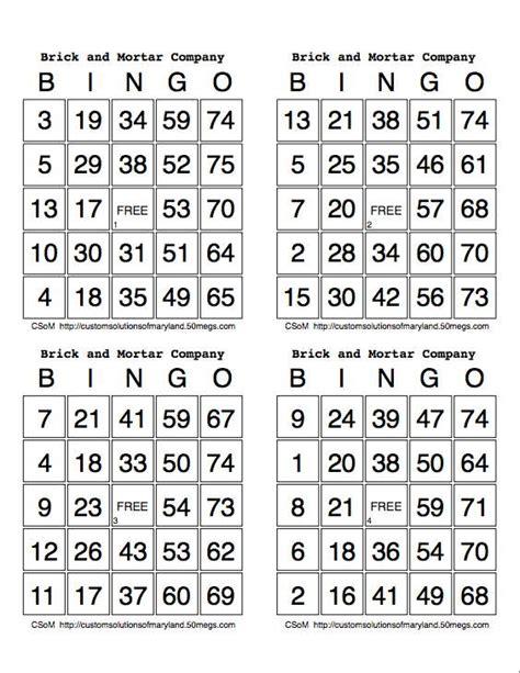 printable number bingo cards 1 50 best photos of print bingo cards 4 sheet printable bingo