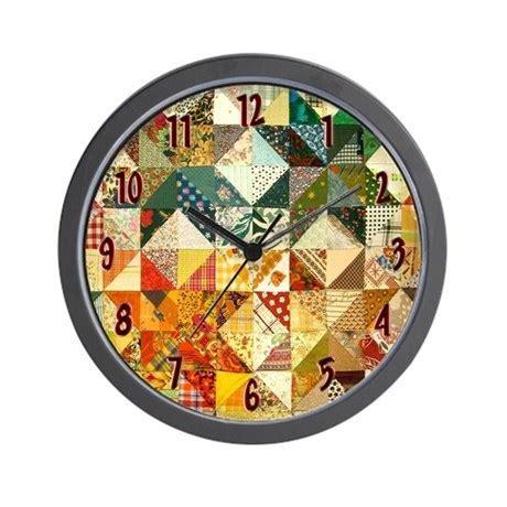 Fun Patchwork Quilt Wall Clock by nansphotoart