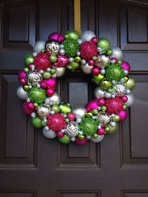 beautiful christmas ornament wreath pink lime green and
