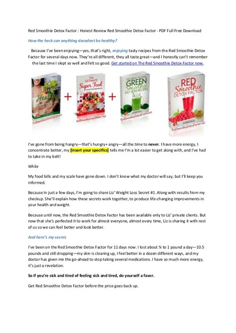 Smoothie Detox Factor Recipes by Smoothie Detox Factor Does Liz Swann Miller S