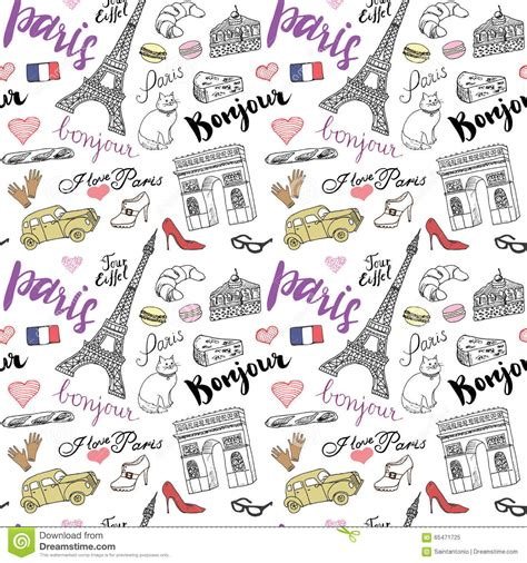 item doodle draw seamless pattern with sketch elements