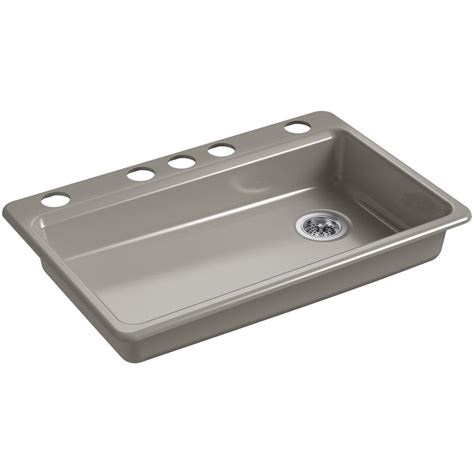 Kohler Riverby Undermount Cast Iron 33 In 5 Hole Single Single Bowl Cast Iron Kitchen Sink