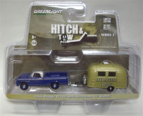 Greenlight Hitch Tow Dodge D 100 2015 greenlight hitch tow s3 1966 dodge d 100 and airstream 16 blue gold rr