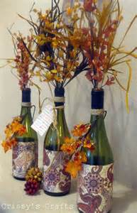 s crafts up cycle fall vases made from glass bottles