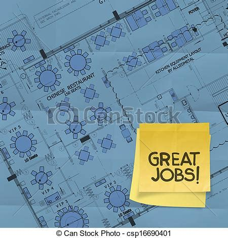 job site layout plan stock photography of great job word with sticky note on