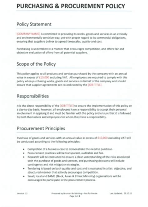 purchasing policies and procedures template purchasing procurement policy template
