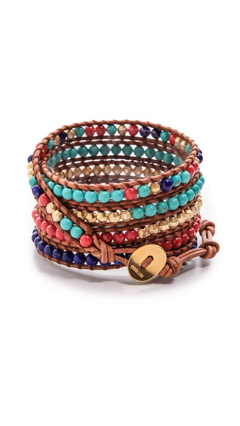 beaded wrap bracelet chan luu multicolor beaded wrap bracelet lyst