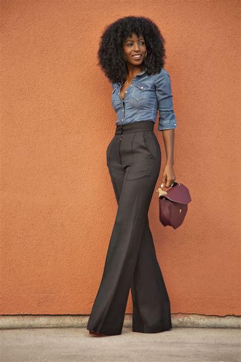 Punny Highwaist Pans Black denim shirt and black high waist flare trousers i