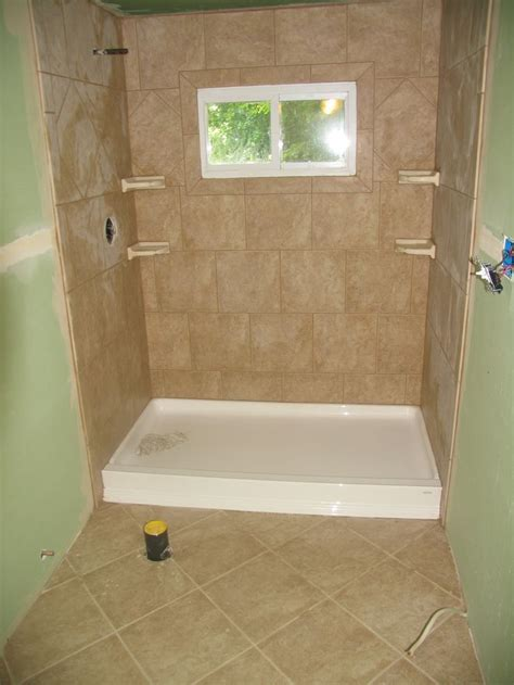 bathroom with standup shower stand up shower and floor tile bathroom tile pinterest