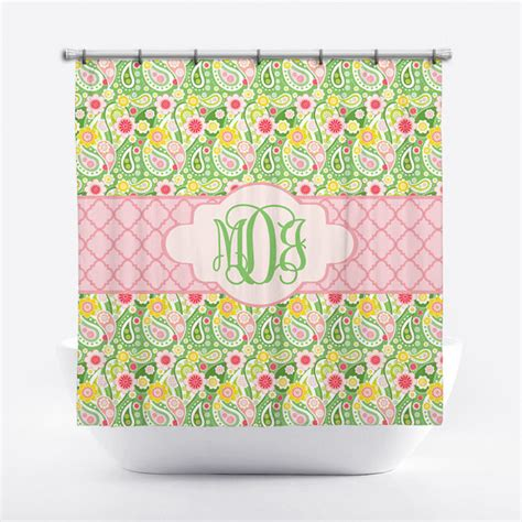 green and pink shower curtain monogrammed shower curtain pink and green paisley