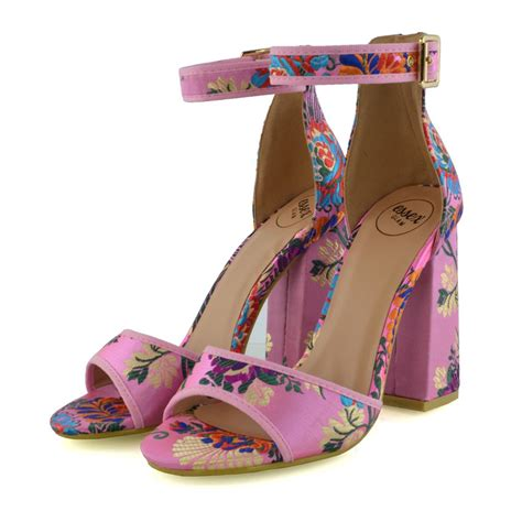 Side Flower Shoes Size 27 30 womens satin high heel sandals ankle peep toe floral