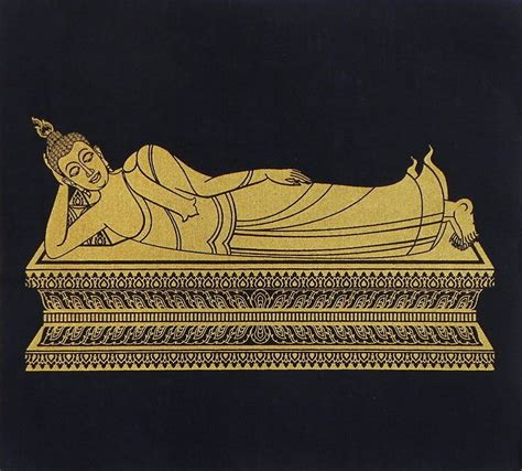T Shirt Buddhis Sleeping Buddha Xl Merah reclining buddha screen print on silk 11 5 x 12 5 inches