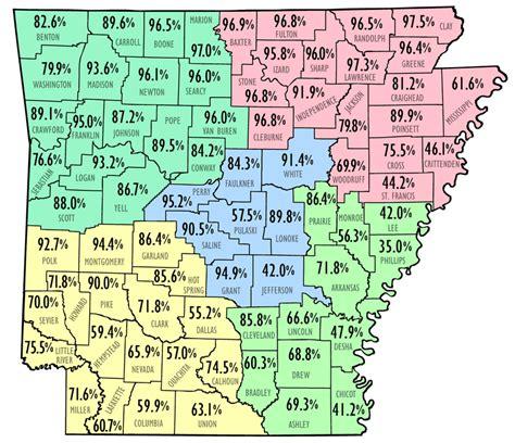 us map showing arkansas white population map encyclopedia of arkansas