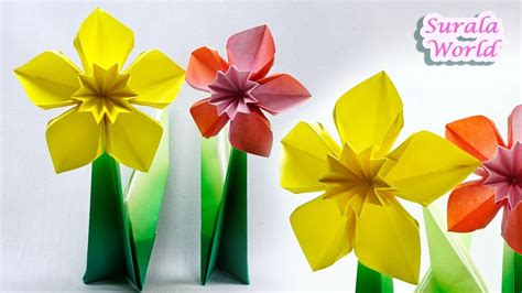origami daffodil narcissus paper flower my crafts