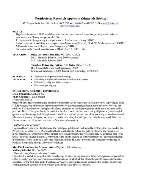 Phd Cv Postdoctoral Research Phd Resume Template
