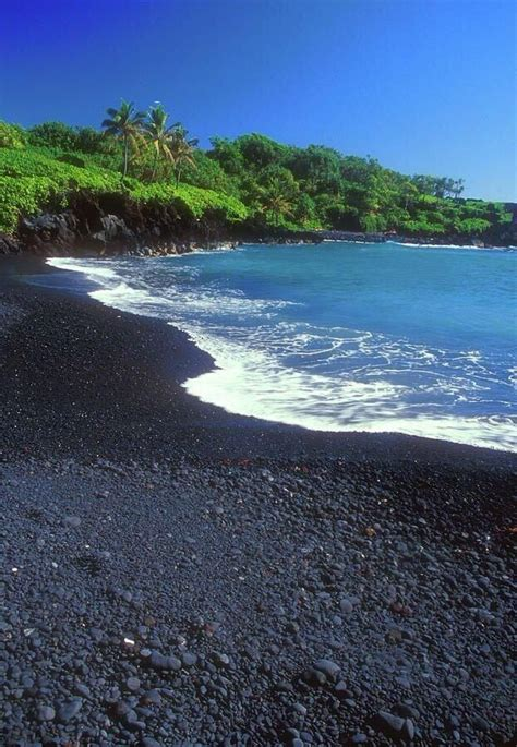 beach with black sand black sand beach hana maui hawaii favorite places