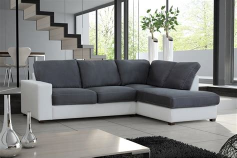 canapé d angle cuir blanc design salon gris et blanc