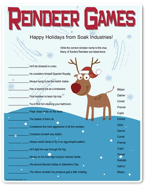 printable christmas games for office printable reindeer they re like riddles who would you find cleaning the bathroom